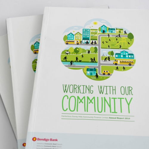 Cover of Canterbury & Surrey Hills Community Finance - Annual Report 2014 - graphic design studio Melbourne