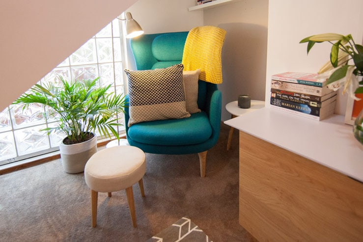 Home Office Design's peacock-blue armchair - hero piece - After