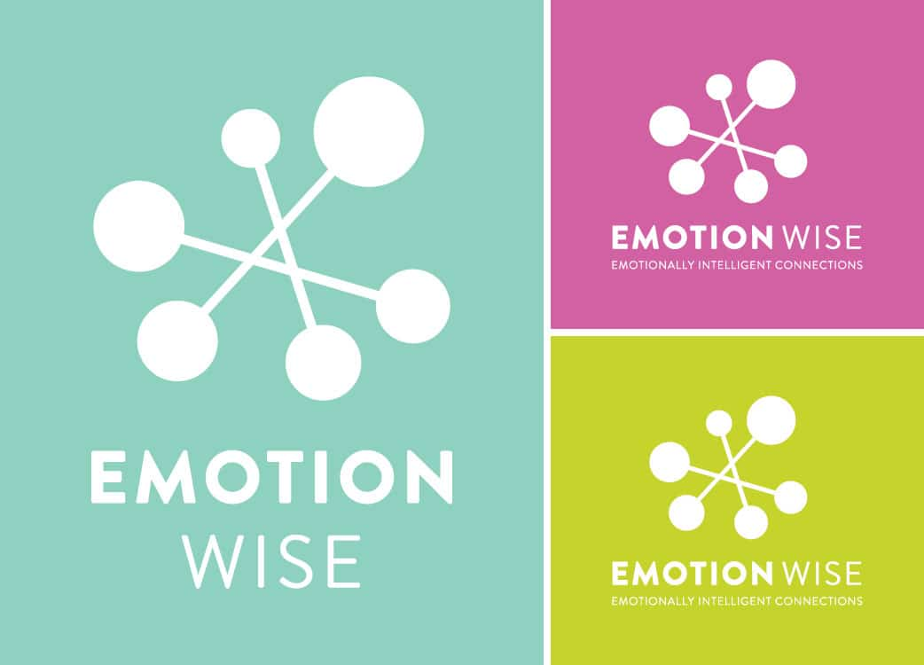 White Logo on 3 different colour backgrounds for Emotion Wise