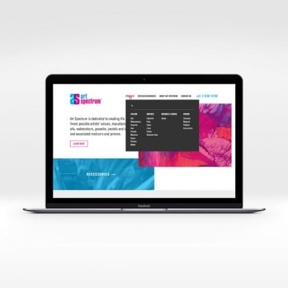 Responsive Website Home page with dropdown menu for Melbourne based Art Spectrum
