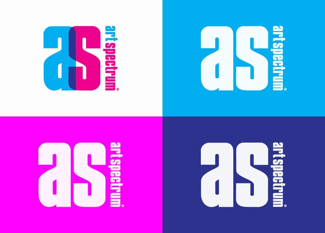 Art Spectrum logo design alternative on white cyan magenta blue background