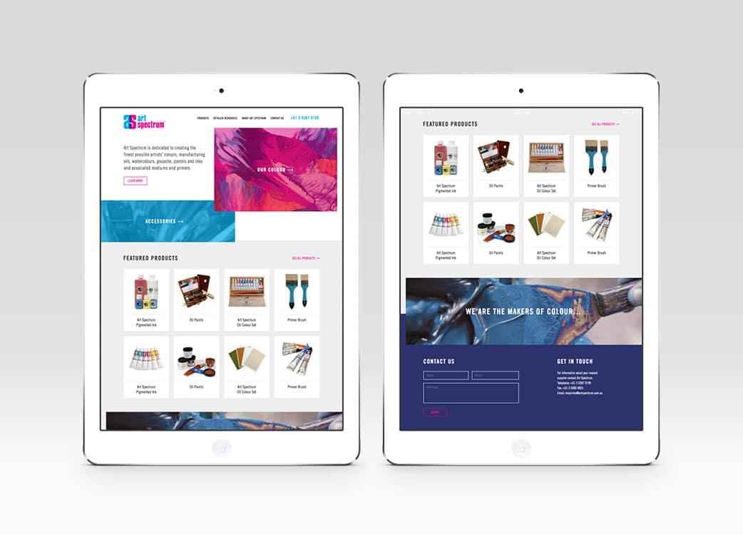 Art Spectrum responsive website for shop menu and navigation on iPad in portrait
