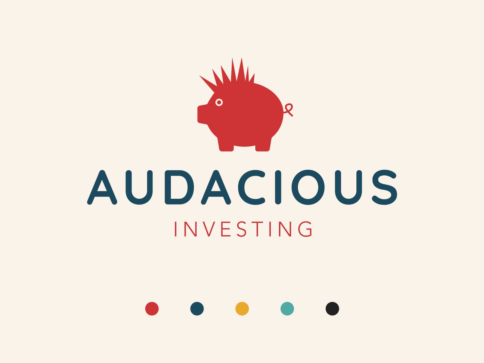 Audacious Investing logo design with colour pallete