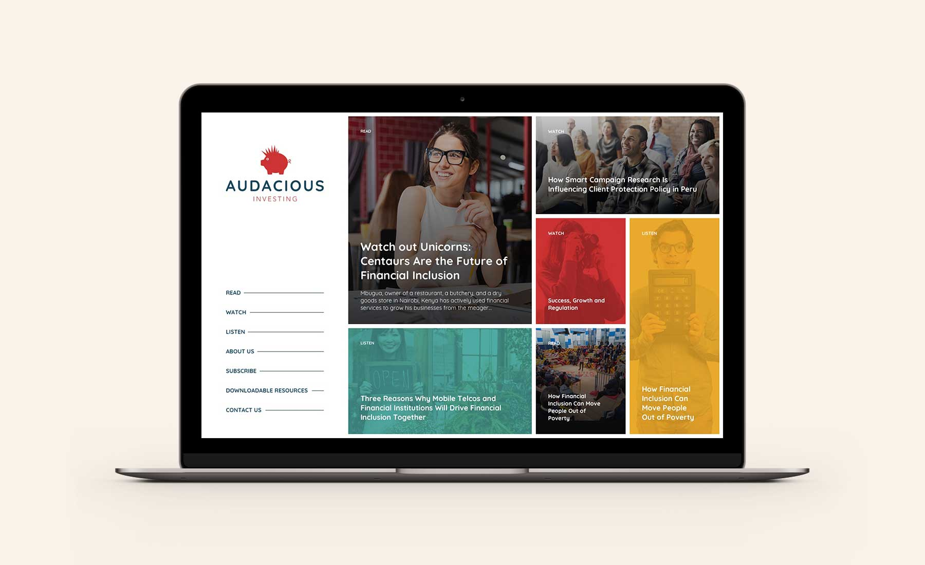 Audacious Investing homepage desktop design on Macbook