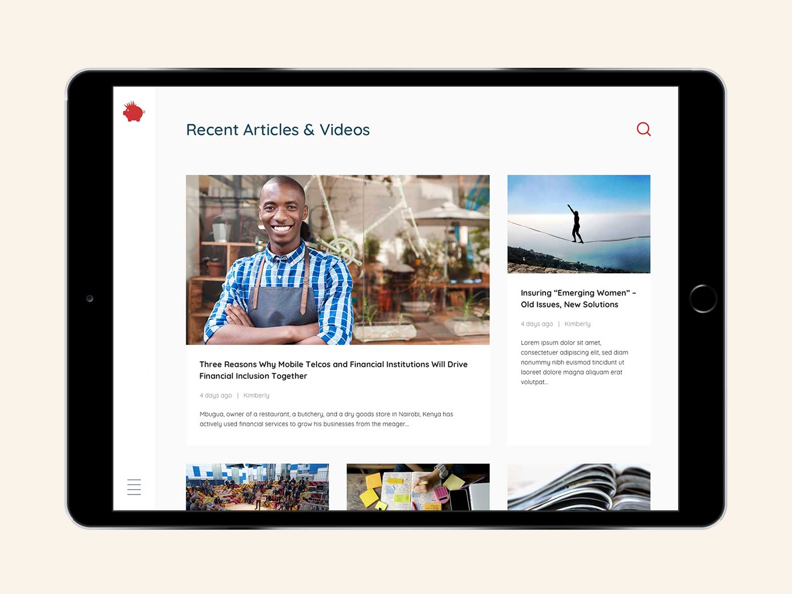 Audacious Investing responsive website design for blog page on iPad in landscape view