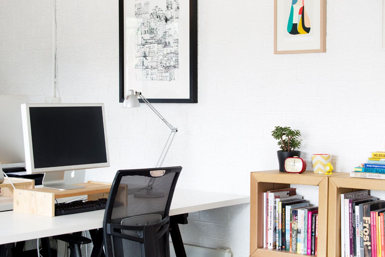 Office interior styling of Converted North Fitzroy Garage