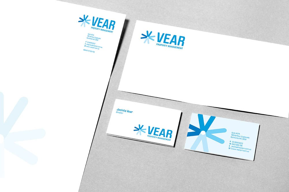 Stationery Design of letterheads, complimentary slips and business cards for Vear Property Management