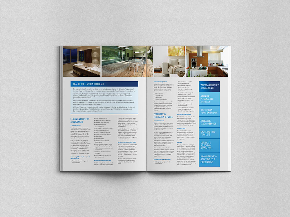 Internal spread design of brochure for VearPM