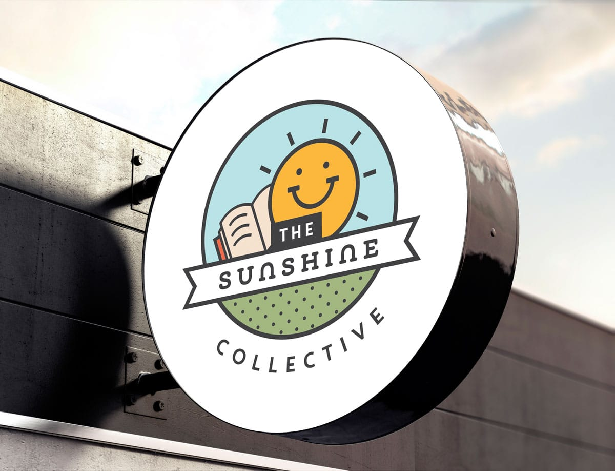 Sunshine Collective small business branding logo design on signage