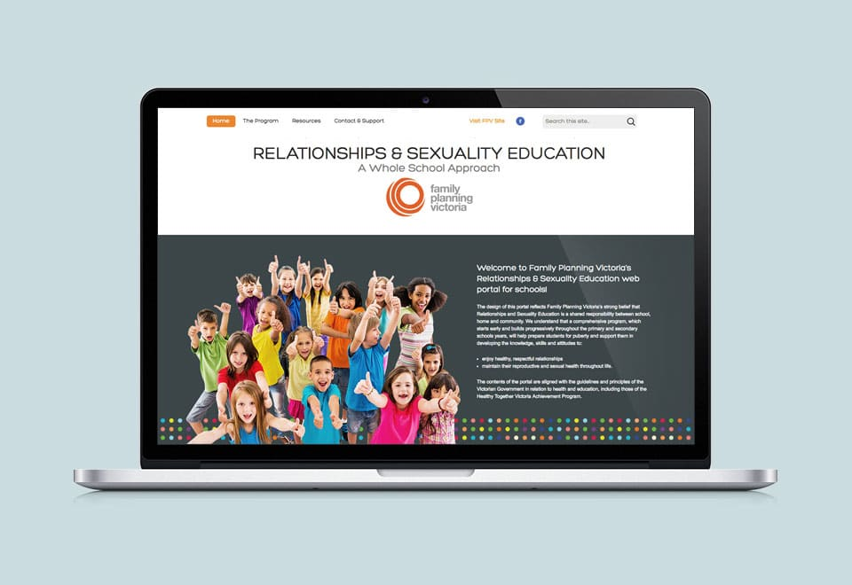 Image of Relationship & Sexuality Education Family Planning Victoria Homepage Design in Macbook view