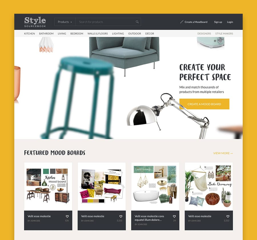 homepage of Style Sourcebook website design