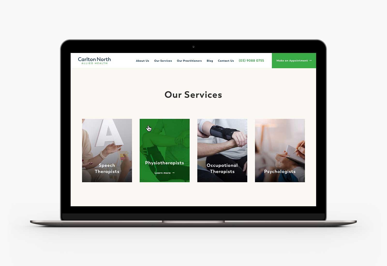 Carlton North Allied Health (CNAH) homepage desktop design on Macbook