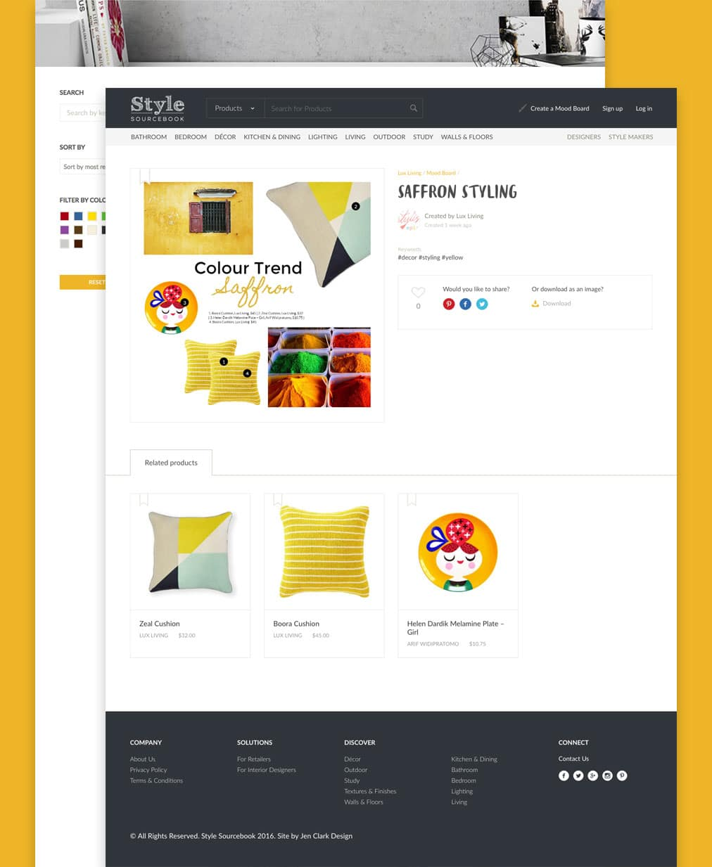 two internal page of Style Sourcebook website design