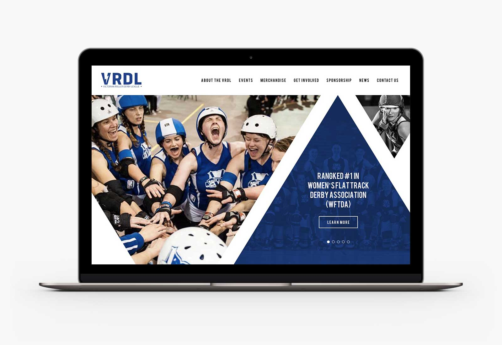 Victorian Roller Derby League homepage desktop design on Macbook