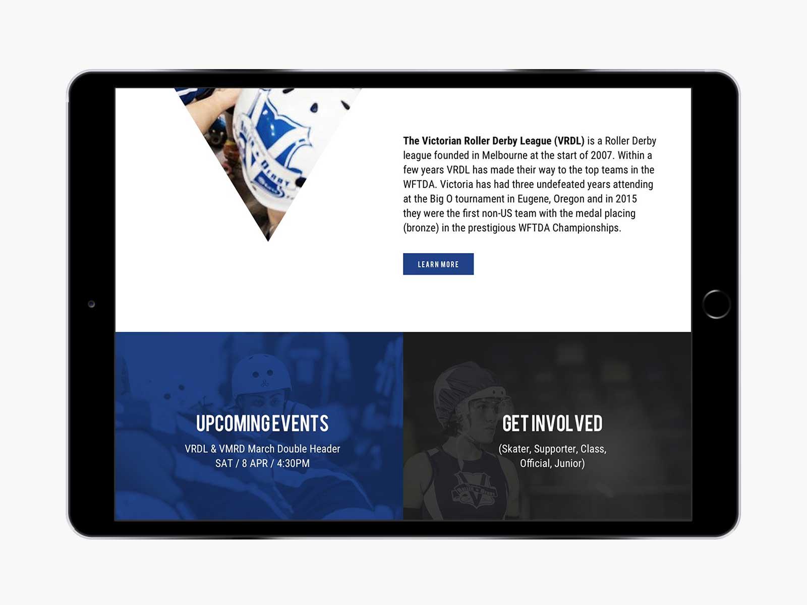 Victorian Roller Derby League responsive website design for navigation menu on iPad in landscape view