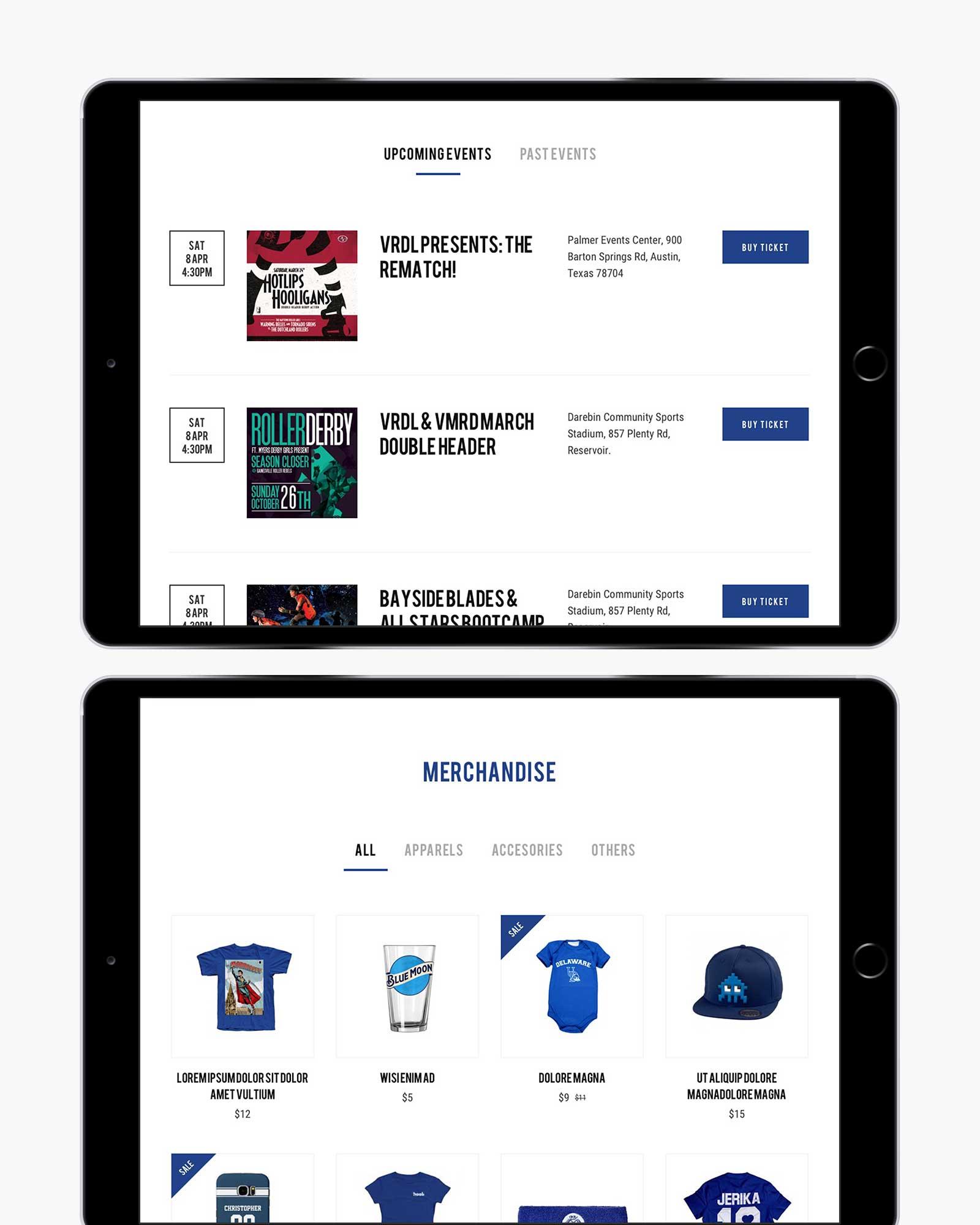Victorian Roller Derby League responsive website design for shop menu on iPad in landscape view
