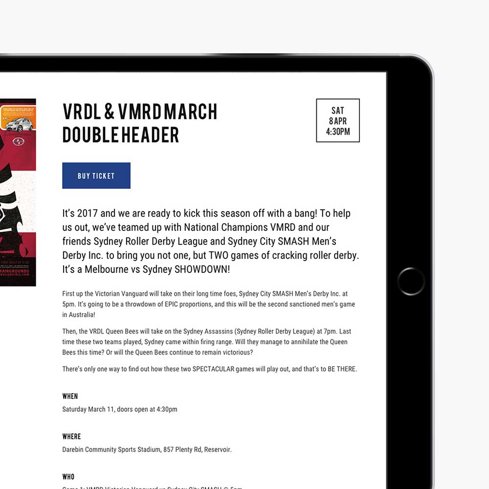 Victorian Roller Derby League responsive website design for match info on iPad in landscape view