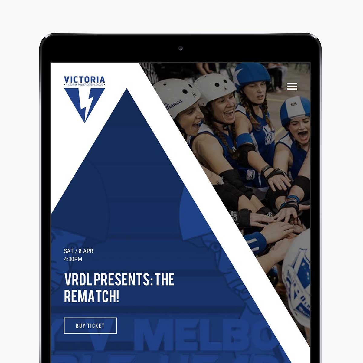 Victorian Roller Derby League responsive website design on iPad in portrait view
