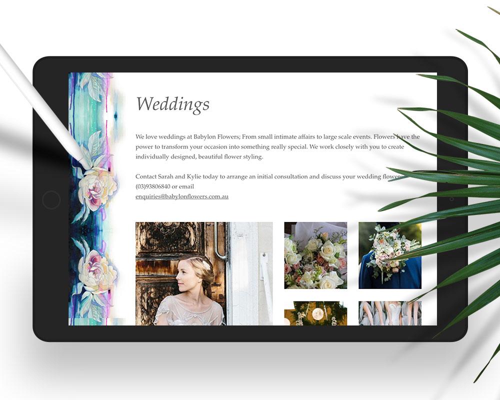 Babylon Flowers responsive website on iPad in portrait view