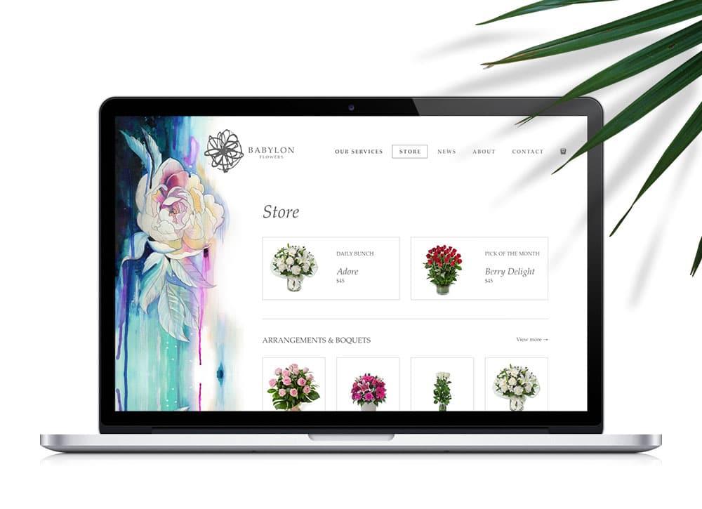 Babylon Flowers website design for shop menu on Macbook