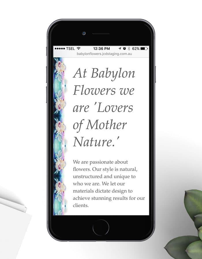 Babylon Flowers responsive website on iPhone in portrait view