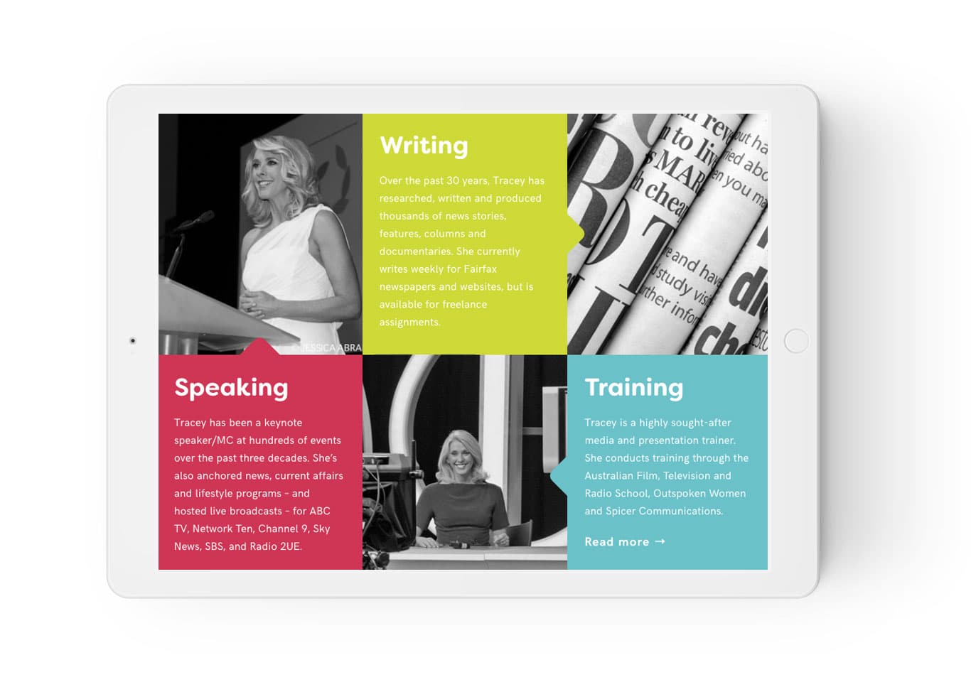 Tracey Spicer responsive website for navigation menu on iPad in landscape view