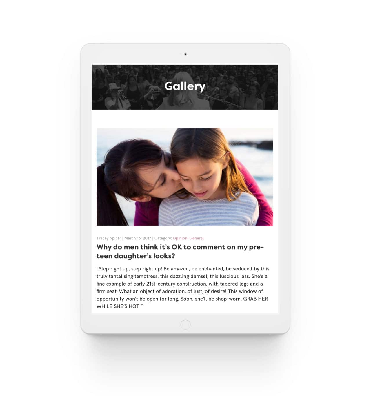 Tracey Spicer responsive website for blog post on iPad in portrait view