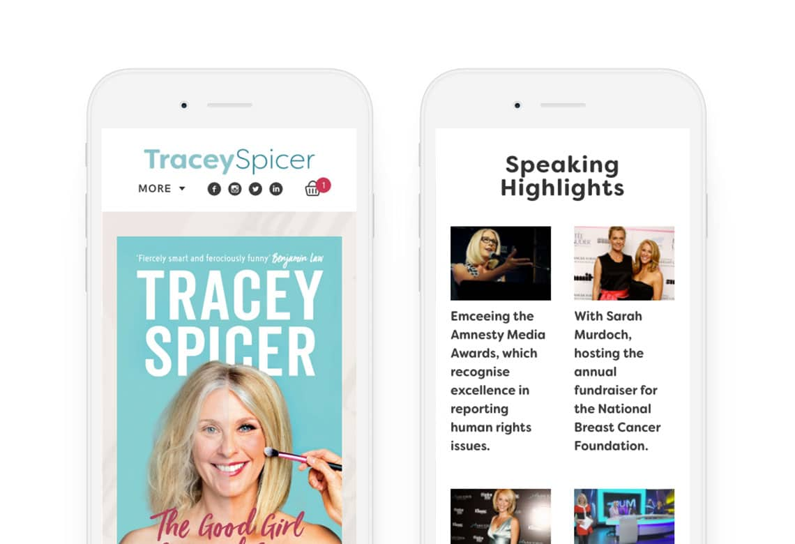 Tracey Spicer responsive website homepage and blog post on iPhone in portrait view