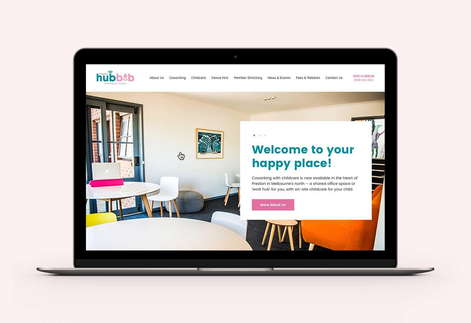 Happy Hubbub homepage desktop design on Macbook