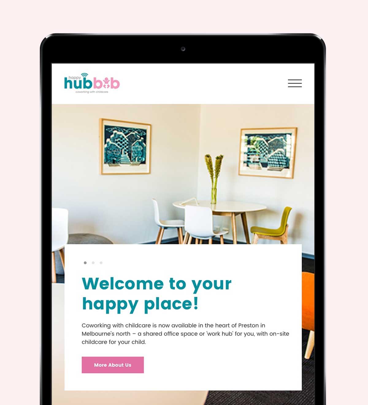 Happy Hubbub responsive website on iPad in portrait view