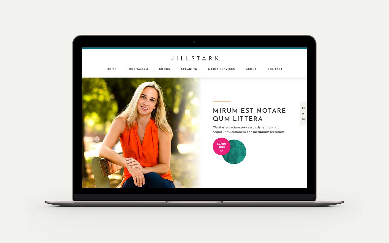 Jill Stark homepage desktop design on Macbook