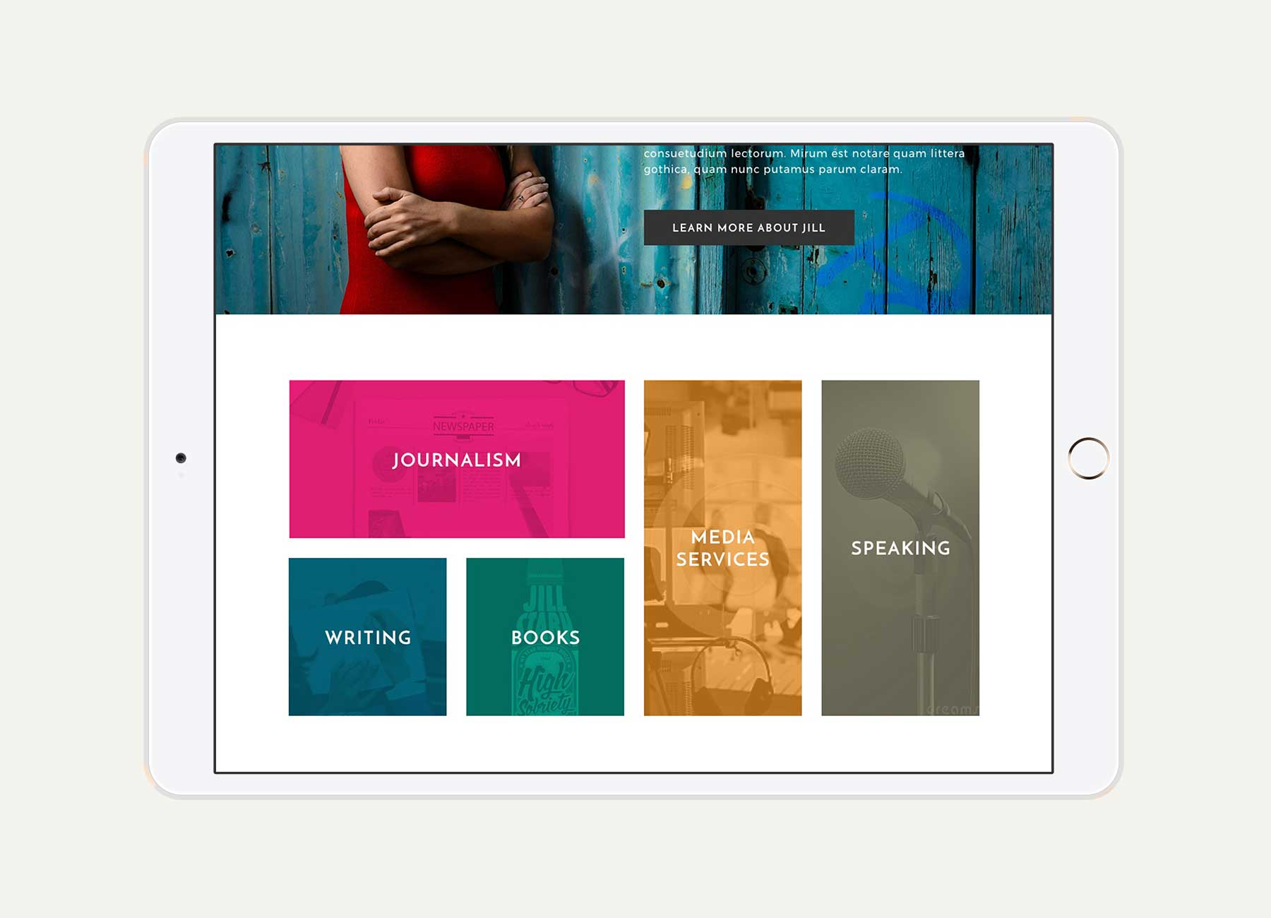 Jill Stark responsive website for navigation menu on iPad in landscape view