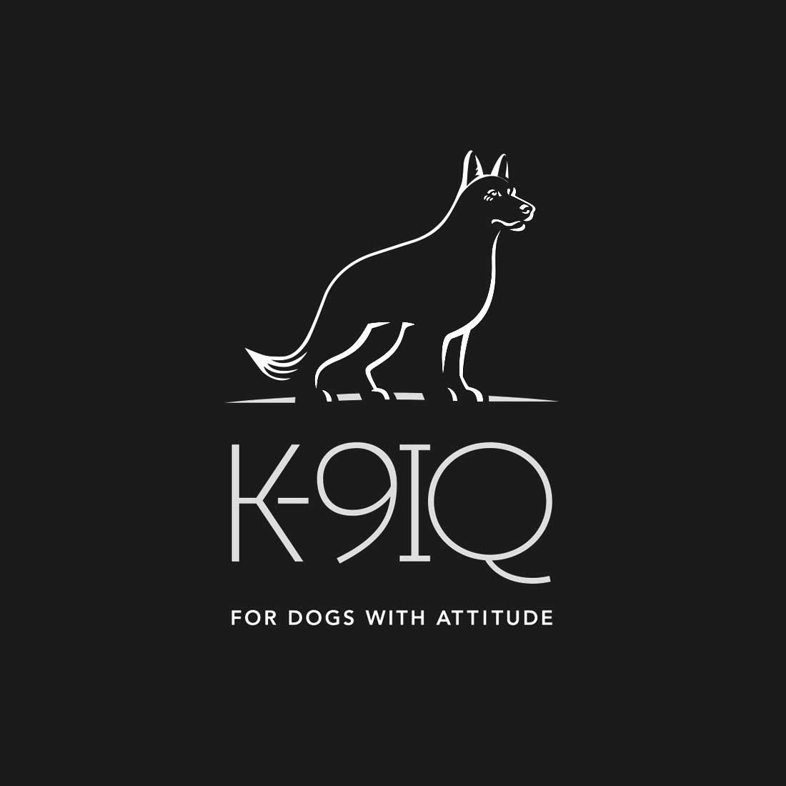 K9IQ logo design on black background