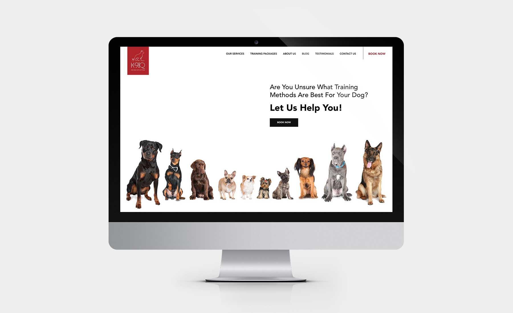 K9IQ homepage desktop design on iMac