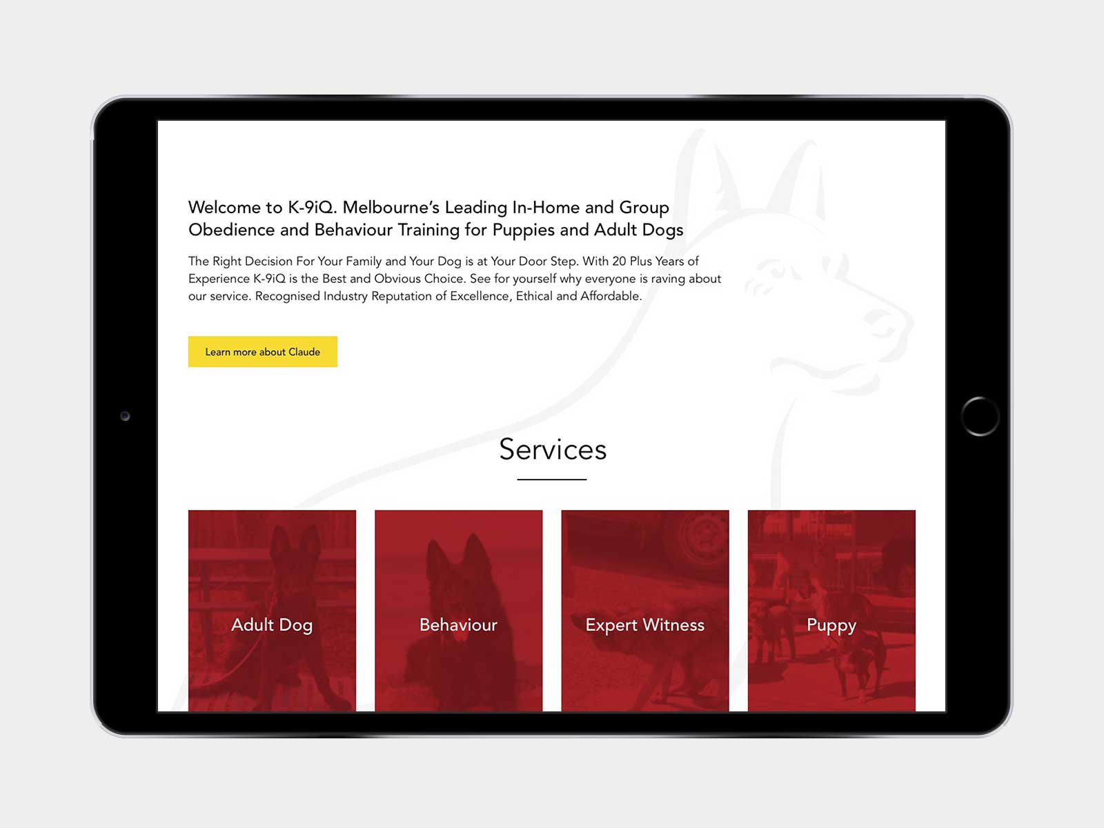 K9IQ responsive website for navigation menu on iPad in landscape view