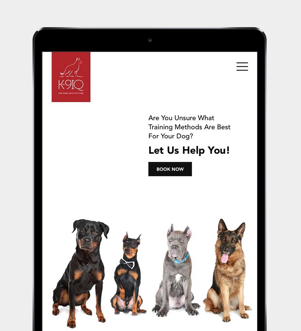 K9IQ responsive website on iPad in portrait view