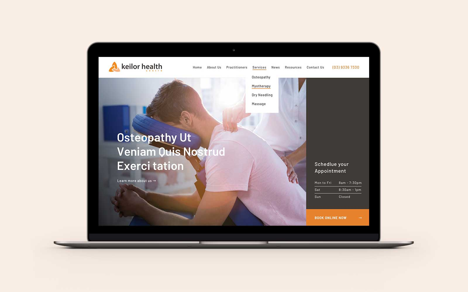Keilor Health homepage desktop design on Macbook