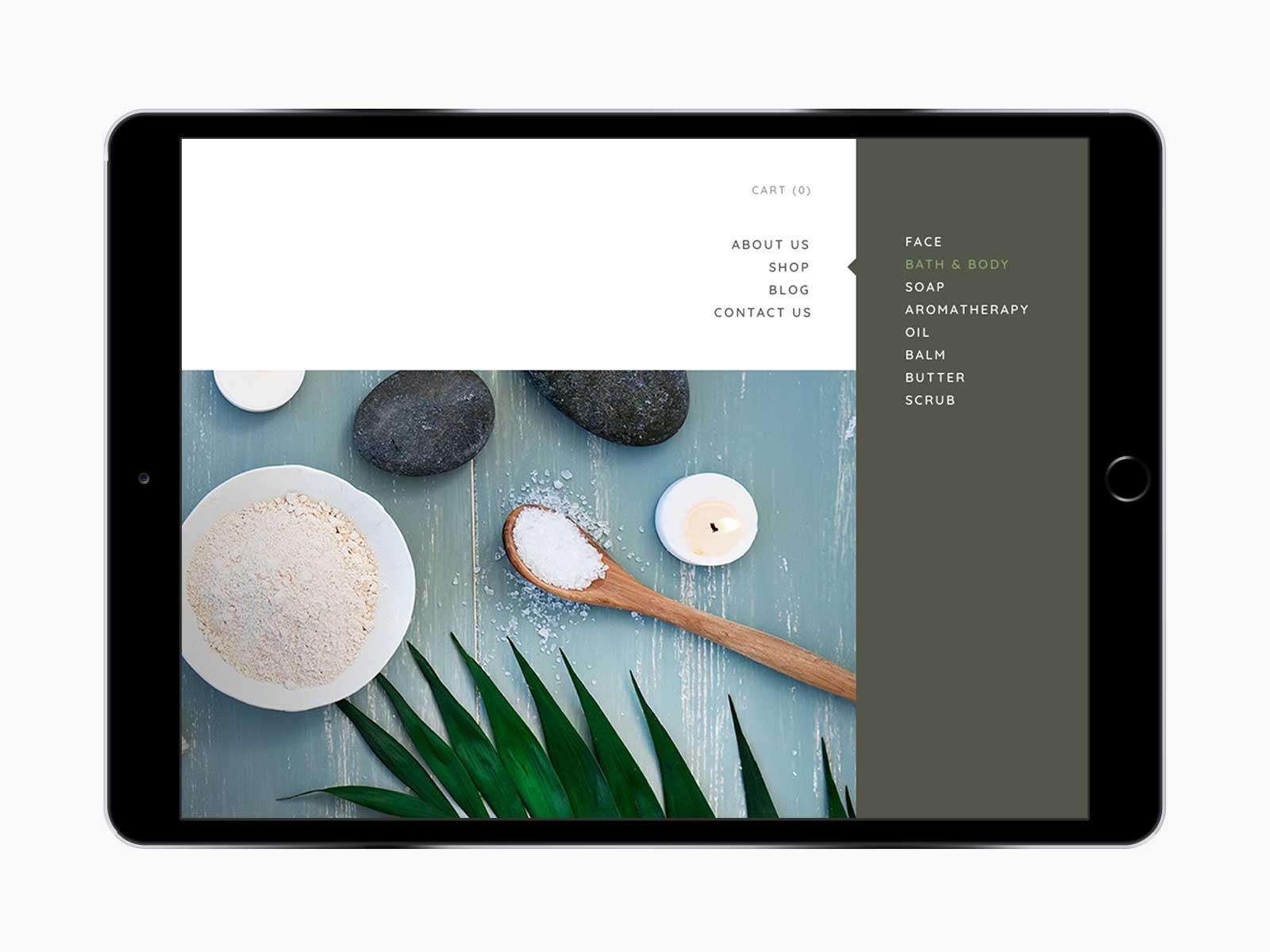 Leaf Skin Co. responsive website for navigation menu on iPad in landscape view