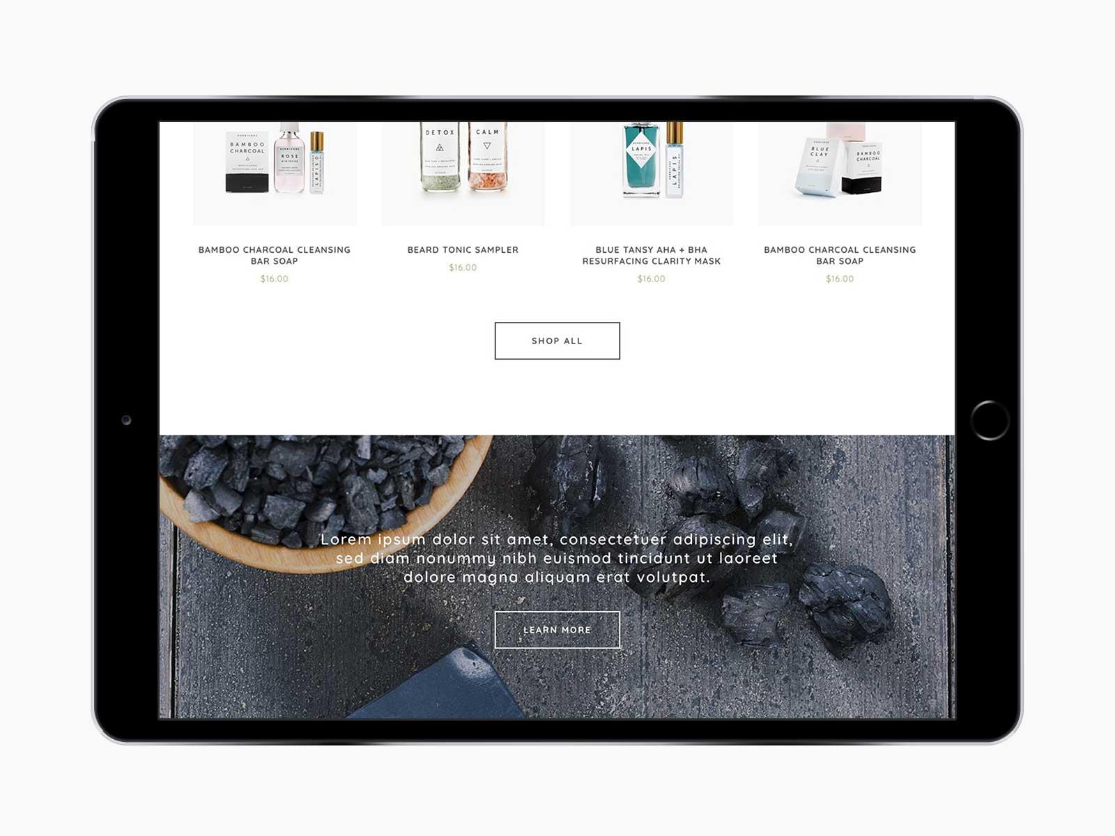 Leaf Skin Co. responsive website for shop menu on iPad in landscape view