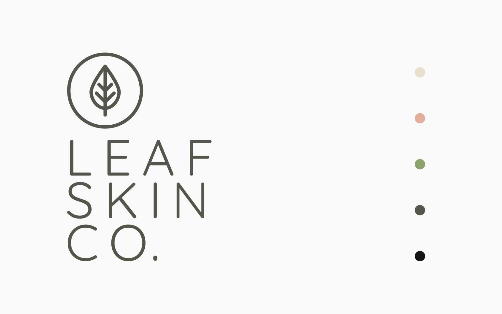 Leaf Skin Co. logo design on white background with colour palette