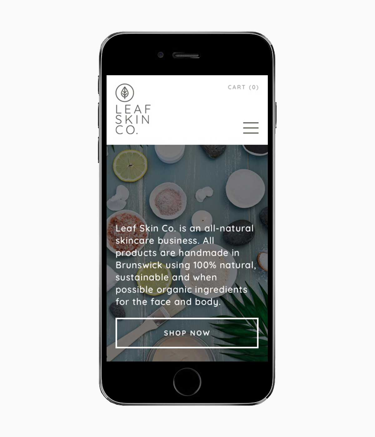 Leaf Skin responsive website on iPhone in portrait view