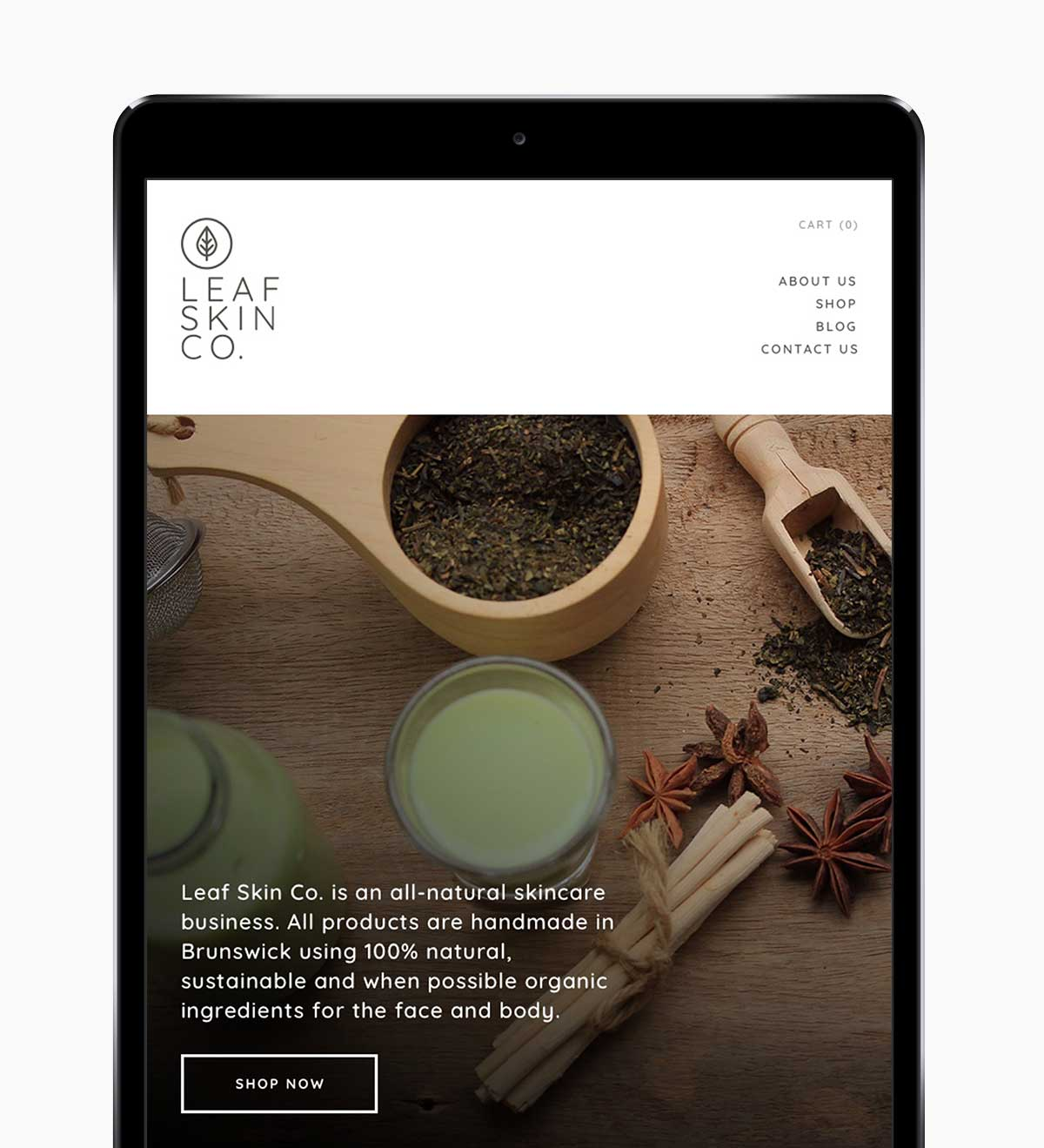 Leaf Skin Co. responsive website on iPad in portrait view