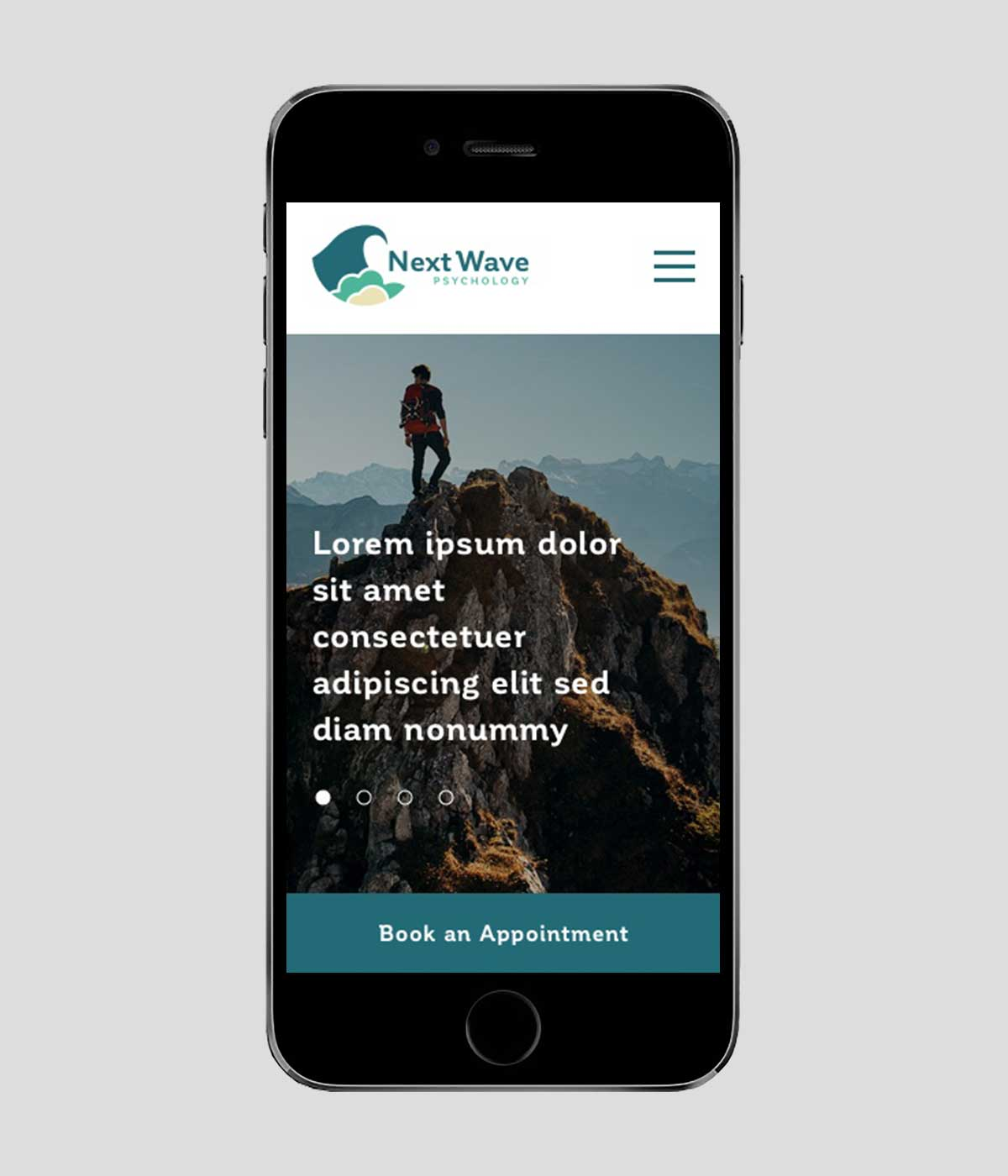 Next Wave Psychology responsive website on iPhone in portrait view