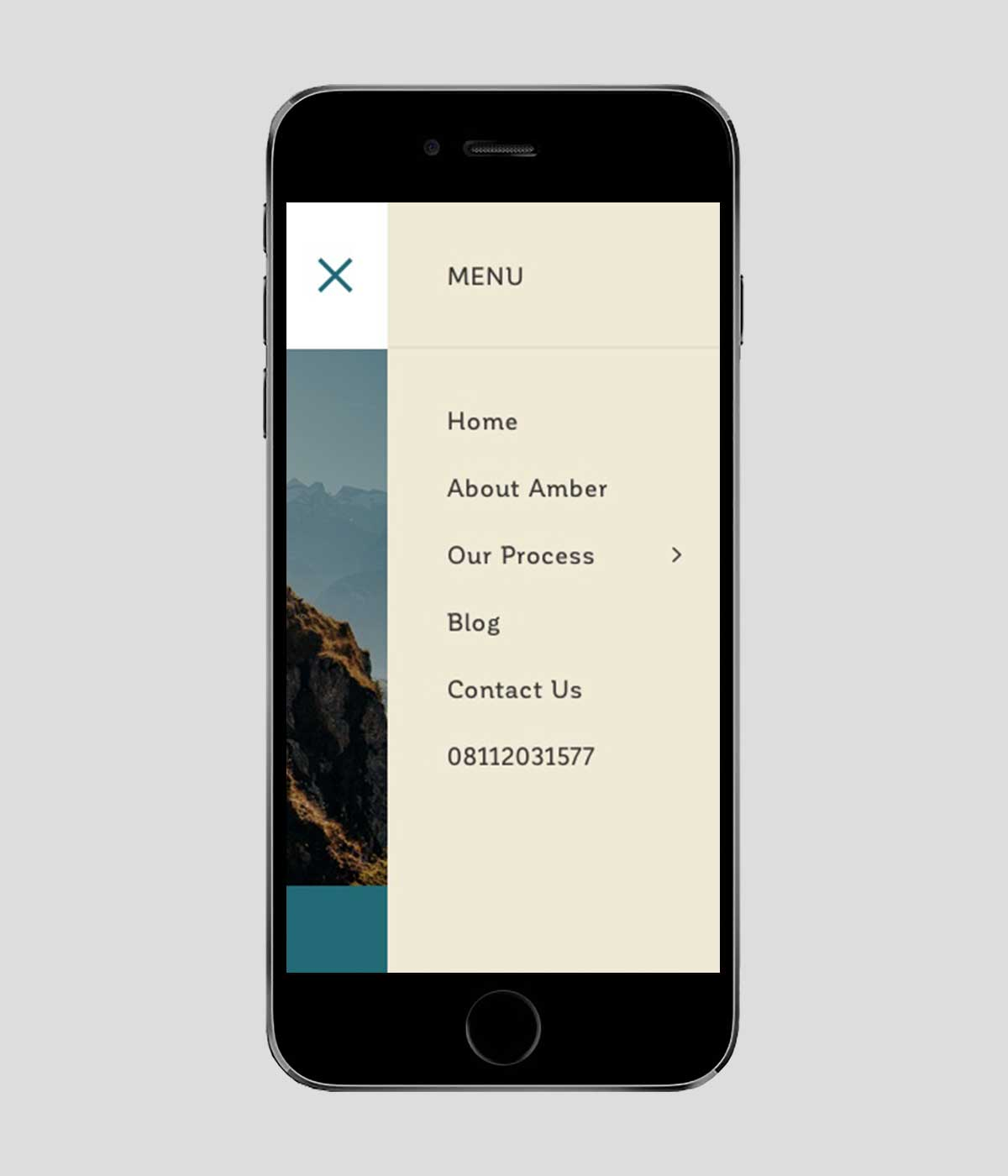 Next Wave Psychology responsive website for navigation menu on iPhone in portrait view