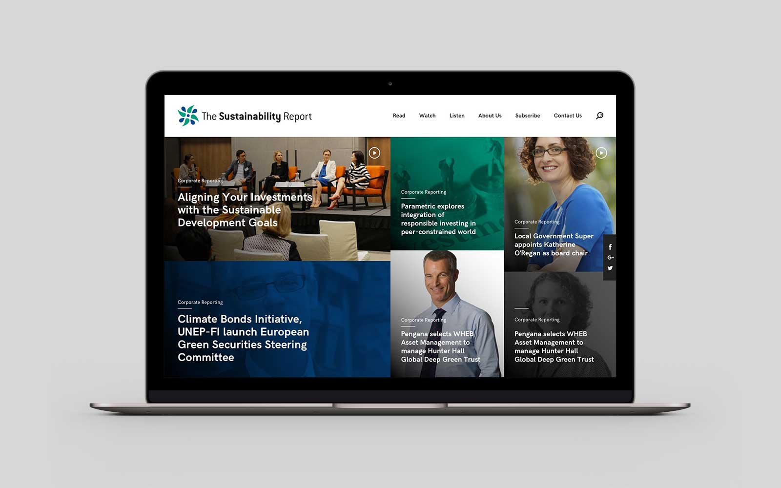 The Sustainability Report homepage desktop design on Macbook
