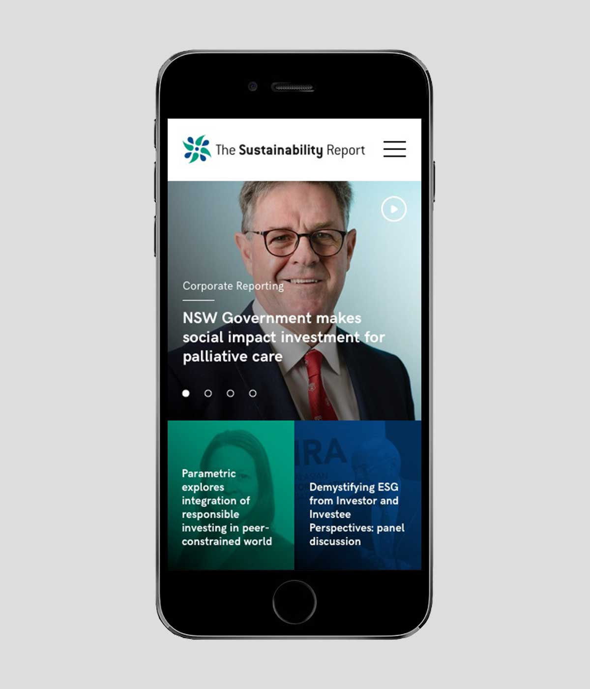 The Sustainability Report responsive website design on iPhone in portrait view