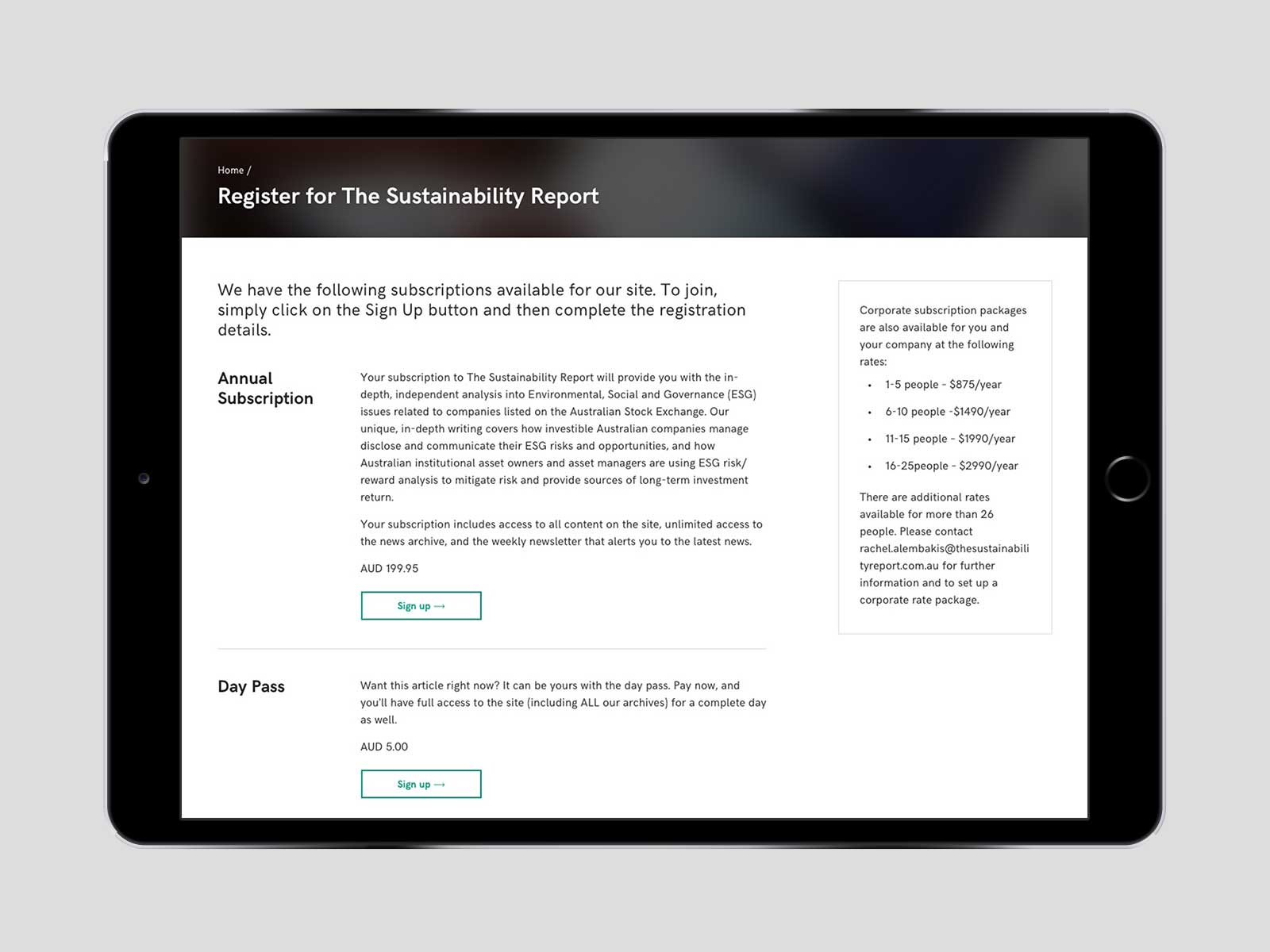 The Sustainability Report responsive website design for registration menu on iPad in landscape view