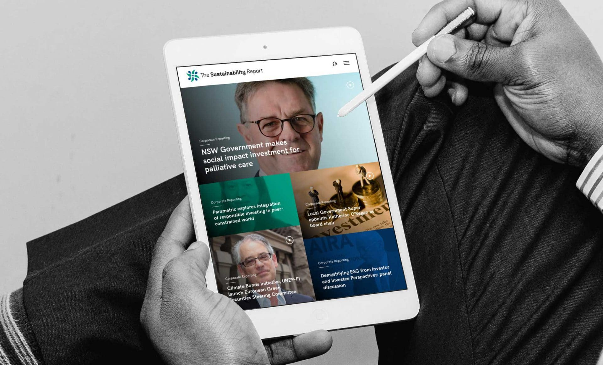 The Sustainability Report responsive website design on iPad in landscape view