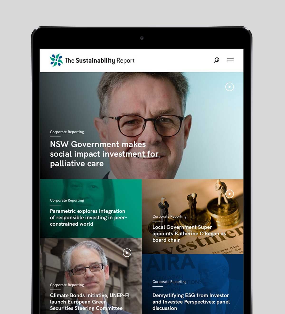 The Sustainability Report responsive website design on iPad in portrait view
