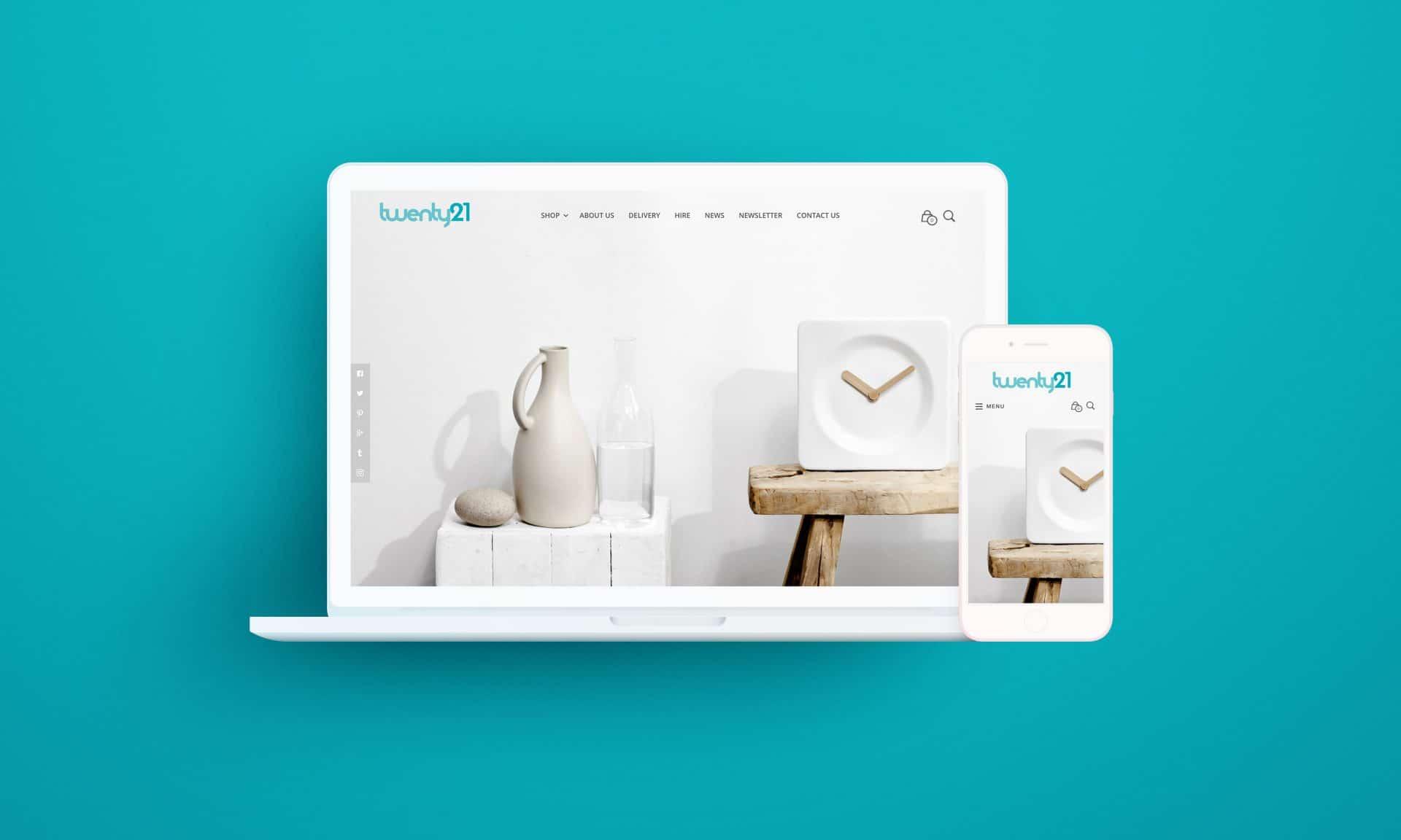 Twenty21 homepage desktop design on Macbook and iPhone